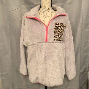 Soft fuzzy quarter zip pullover
